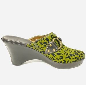 Cole Haan Mules made with Calf Hair - animal print